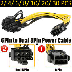 6pin To Dual 8pin Power Supply Cable Adapter Connector Cord For Video Card Lot