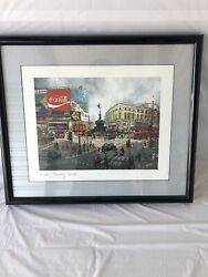 H Moss Lithograph London Piccadilly Circus 8.5 X 6.5 Coca Cola 1981 Framed