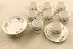 Mikasa Maxima Super Strong Fine China Caj05 Belle Terre Set Of 8 Cups And Saucer