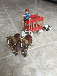 Vintage Cast Iron Overland Circus Wagon Horses Carriage Carnival Sideshow