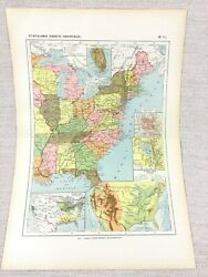 1888 Antique Map Of The United States Of America East Coast French 19th Century