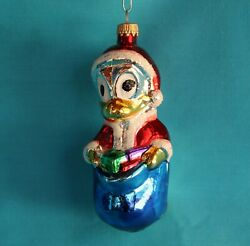 West Germany Donald Duck Glass Christmas Ornament Vintage Holidays