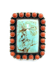 Native American Sterling Silver Navajo Turquoise With Coral Ring Size 9