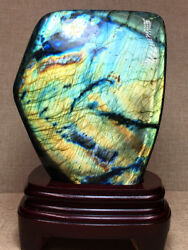 2620g Natural Labradorite Crystal Rough Polished Rock From Madagascar +stand