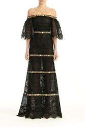Carolina Herrera Off-the-shoulder Embroidered Guipure Lace Gown Black