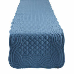 Dii French Blue Quilted Farmhouse Table Runner