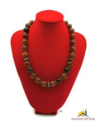 Unique Hand Made Natural Tourmaline Stones Necklace With Stainless Steel Beads