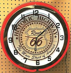 18 Route 66 Historic Highway Sign Double Neon Clock The Main Street Of America