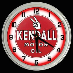 16 Kendall Motor Oil Red Neon Clock Chrome Case Man Cave Garage Gas Oil
