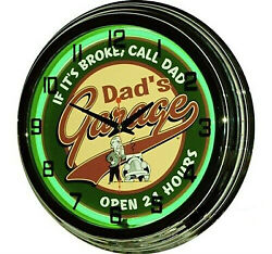 17 Dadand039s Garage Open 24 Hours Sign Green Neon Clock Man Cave Muscle Car