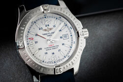 Men's Ss 44mm Breitling Colt Quartz White Dial Watch With Box And Papers