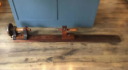 """Primitive Wooden Woodworking Lathe Antique 9"""" Swing Free Ship"""