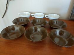Retro Set Of 6 Texas-ware A-2 Brown Melamine Bowls And 3 White 124 Cups