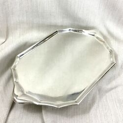 Vintage Christofle Large Silver Plated Serving Tray French Art Deco Geometric