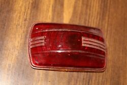 Vintage Glass Automobile Brake Light Lens Pap 3 5/8 X 2 1/8 1930and039s 1940and039s