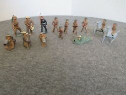 Lot 14 1930s Barclay / Manoil Ww1 Lead Metal Toy Doughboy Soldiers Infantry