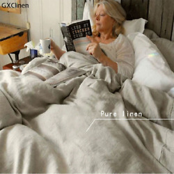 Pure Linen Duvet Cover Natural Bed Comforter Cover Washed Quilt Cover Closure