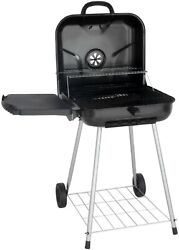 22 Square Outdoor Bbq Charcoal Grill With Foldable Side Shelf, Black Wheels