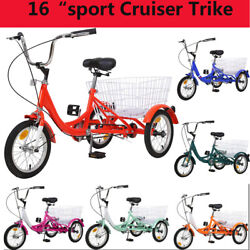 Adult/kids Tricycle 16 3 Wheel Balance Bike Sport Cruiser Trike W/ Big Basket