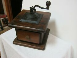 Antique Large Wooden Coffee Grinder Unusual Size Estate Find Must See