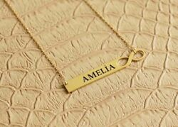 Solid Metal Womenand039s Custom Name Dog Tag Pendant Necklace 14k Yellow Gold Finish