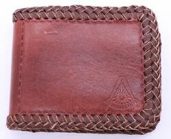 Masonic Hand Tooled Handcrafted Brown Leather Wallet Billfold Past Master Mason
