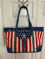 Montana West MW730 8484 AMERICAN PRIDE COLLECTION WIDE TOTE RED WHITE amp; BLUE $38.00