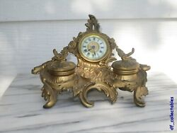 Rare Ansonia Library Ink Inkstand Desk Clock In Excellent Condition