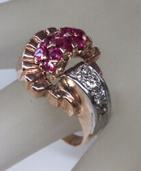 Antique Retro Genuine Diamond Ruby Cocktail Ring Scroll Details Solid 14k Rgold