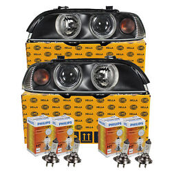 Hella Headlight Set For Bmw E39 Yr 00-03 Facelift Inkl.philips H7/h7+ Engines