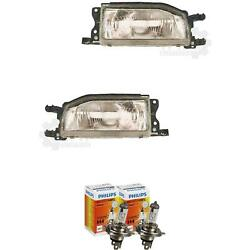 Halogen Headlight Set Mazda 323 Bf 9.87-9.89 H4 Without Motor Incl. Lamps