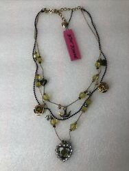 Betsey Johnson Nautical Lucite Heart Beaded Necklace Nwt Rare