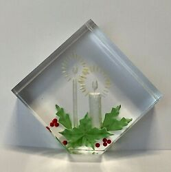Vintage Christmas Paperweight Reverse Carved Lucite Plastic Candles Holly Mcm