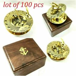 Nautical Brass Compass 3 Round Sundial Compass With Wooden Box Lot Of 100 Unit