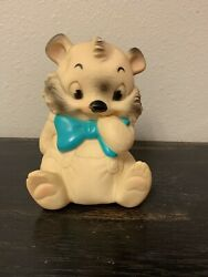 Vintage Ashland Rubber Company White Bear Squeak Squeeze Toy Turquoise Bow