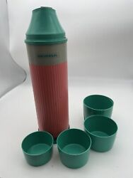 Mid-century Universal Thermos Landers Frary Clark 3384 Green Gray Pink |1783