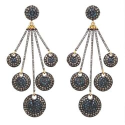 Diamond Pave 14k Gold Dangle Earrings 925 Silver Dangle Mothers Day Gift Jewelry