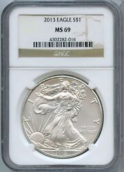 2013 American Silver Eagle 1 Oz Ngc Ms69 1 Certified Coin Jk074