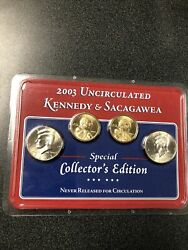 2003 Uncirculated Kennedy And Sacagawea 4 Coin Set Special Collectors Edition