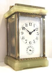 Antique Green Onyx French 8 Day Alarm Carriage Clock