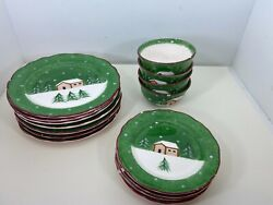 Lot 15 Pc. Vintage Macyand039s The Cellar Log Cabin Christmas Winter Dishes