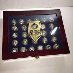 Complete 27 Ny Yankees Championship Ring Set With Display Case Not China Fakes