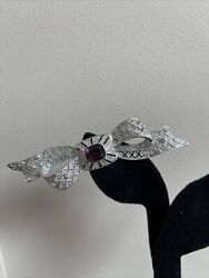 Vintage Collectible Antiques Roadshow Amethyst Pave Crystal Bow Brooch Pin 10