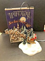 Dept 56 Snow Village Up, Up And Away Animated Reindeer And Sleigh W/ Santa 52593