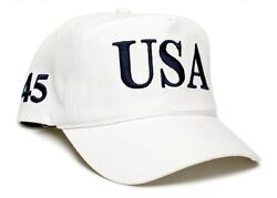 Embroidered 45th Us President Donald Trump 45 Hat Cap White Red