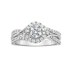 1 Ct. Halo Diamond Solitaire Engagement Ring 14k White Gold