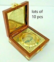 Nautical Brass Compass Vintage Steampunk With Wooden Box Compass Lot Of 10 Unit