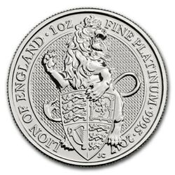 Queenand039s Beasts The Lion 1 Oz Platinum Coin Bu 2017 Great Britain Under Capsule