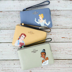 NWT Disney X Coach Corner Zip Wristlet wallet with Cinderella Belle Tiana NEW $80.95
