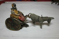 1890 Antique Lehmann Wind Up Toy - Comical Clown Driving Cart With Mule Germany
